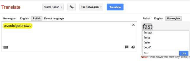 Jak używać Norwesko-polskiego słownika Google
