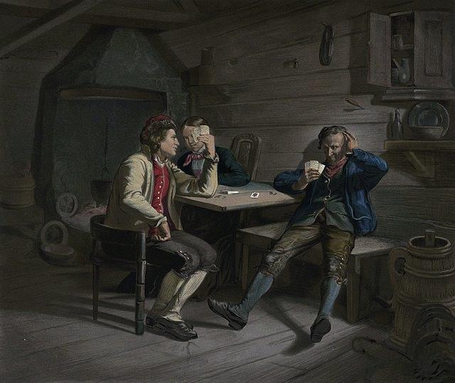 Kortspillerne – opisywanie obrazu po norwesku