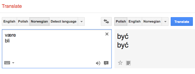 Bli i vaere w Google Translate