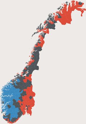 Mapa norweskim komun – bokmål, nynorsk i neutralne