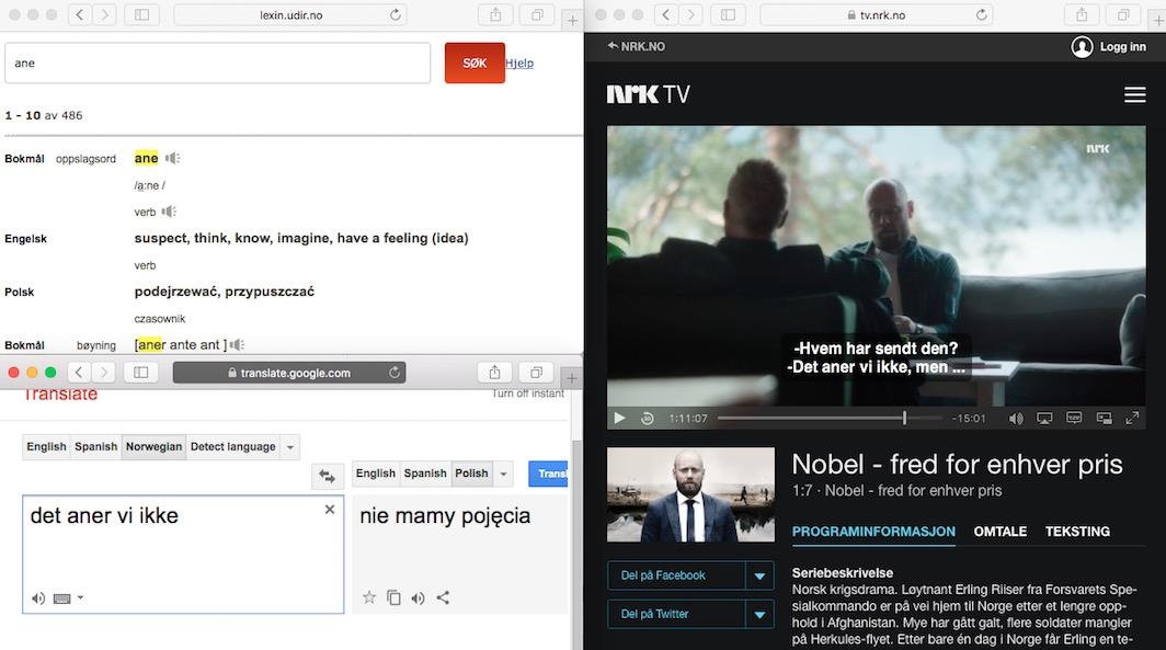 Nauka norweskiego przez seriale: Lexin, NRK, Translate